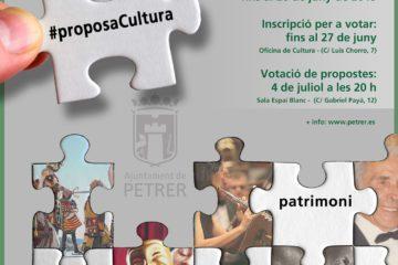 Petrer destinará hasta 4.500 € para financiar las propuestas culturales que propongan los colectivos y vecinos de la localidad