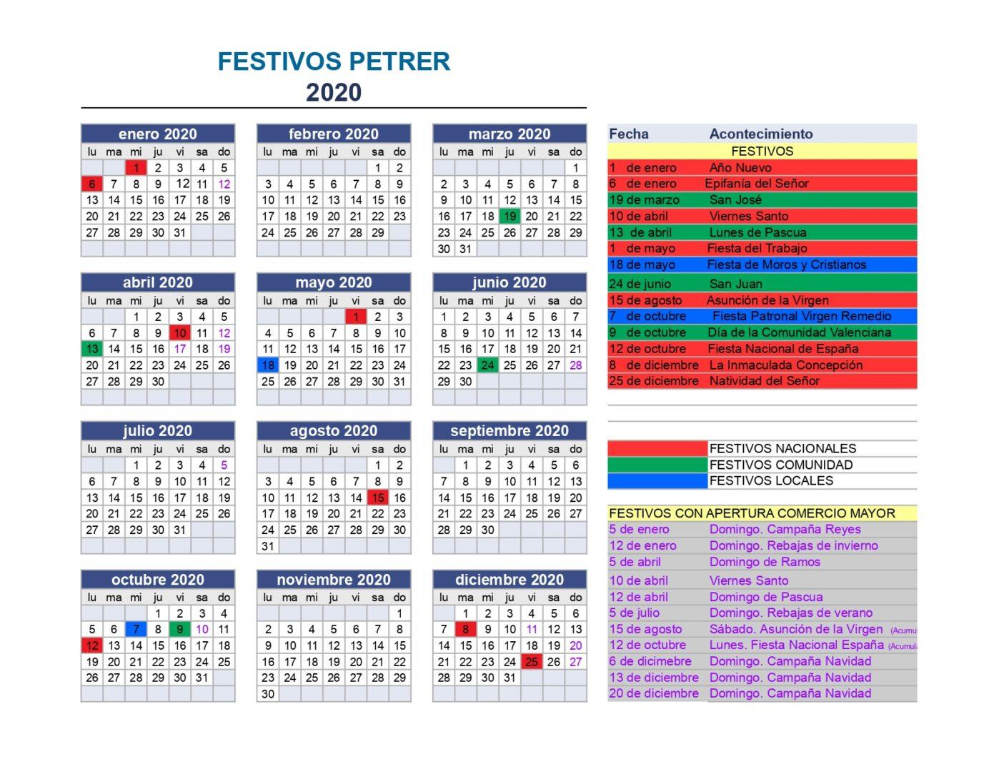 CALENDARIO FESTIVOS 2020