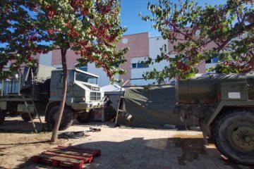 Una unidad especializada del Ejército de Tierra despliega 21 efectivos en la residencia La Molineta para desinfectar las instalaciones